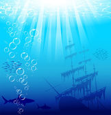 Beautiful and dangerous underwater world with sharks and old ship Vector EPS 10