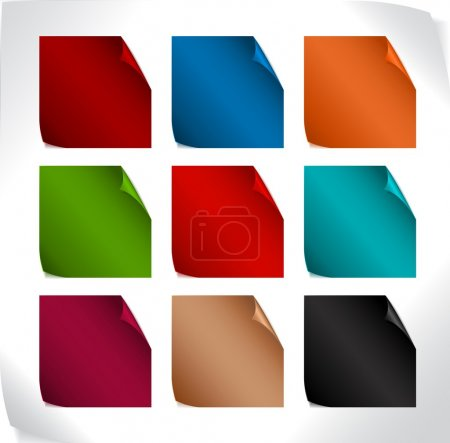 Set of paper stickers with rounded corners