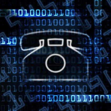 Foto de Teléfono IP y código binario abstracta ilustración - Imagen libre de derechos