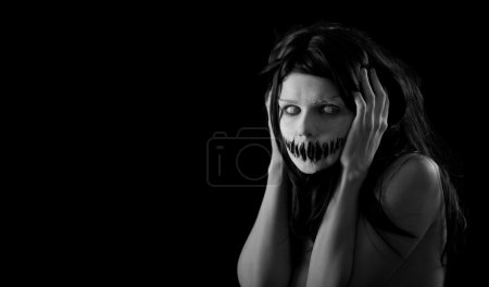 Photo for Halloween girl with scary mouth, extreme body-art - Royalty Free Image