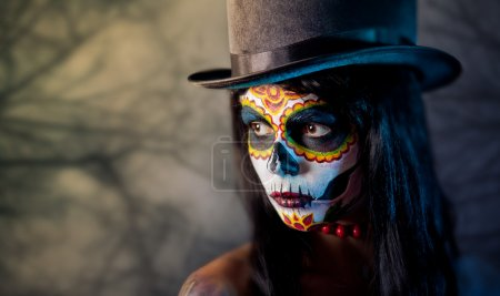Sugar skull girl in tophat