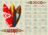 American Aloha vector calendar 2012 with surf boards starting from Sundays