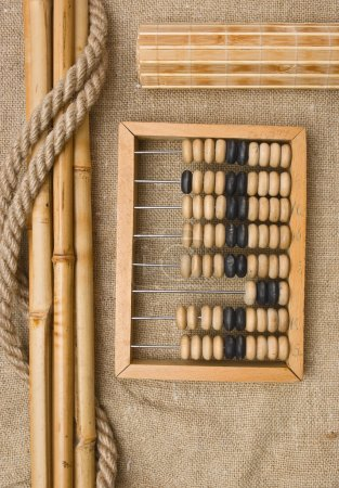 Old wooden abacus on the background of bagging