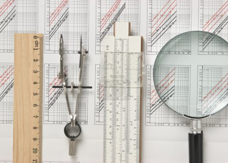 Photo for Engineering tools on a technical drawing - Royalty Free Image