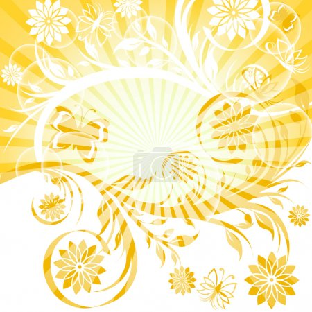 Vector illustration of a sunny floral ornament with butterfly. E