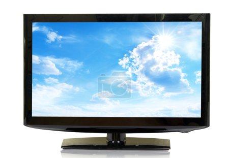 Photo pour Vue frontale du moniteur LCD grand écran isolé sur blanc - image libre de droit