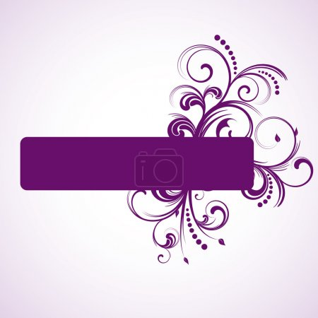 Purple rectangle frame with floral elements