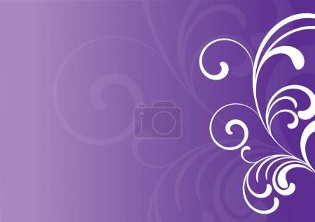 Illustration for Purple background with white floral elements - Royalty Free Image