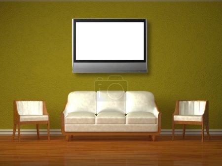 Photo pour Blanc divan et deux chaises avec lcd tv en intérieur vert - image libre de droit
