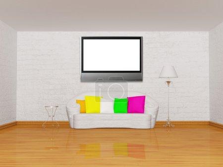Photo pour Minimaliste salle de séjour avec canapé blanc, table, lampe standard et lcd tv - image libre de droit