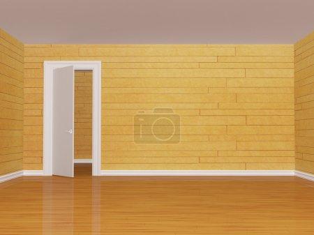 Empty room with open door