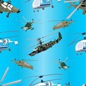 Seamless blue background of military helicopters