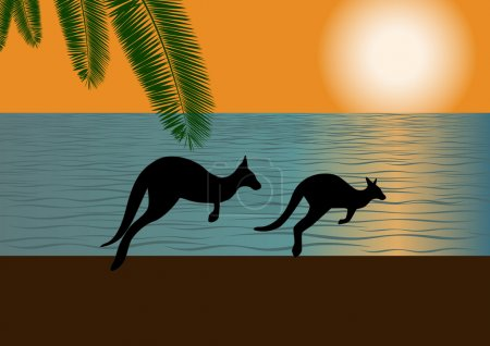 Illustration for Against the backdrop of the ocean and setting sun on the bank of two galloping kangaroos - Royalty Free Image