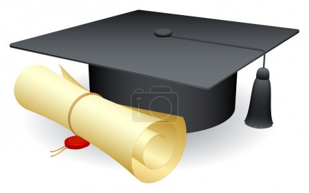 Illustration for Graduation cap and diploma. - Royalty Free Image