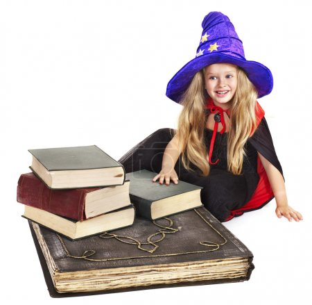 Witch child with stack book.
