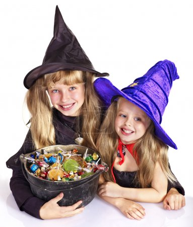 Witch with trick or treat.