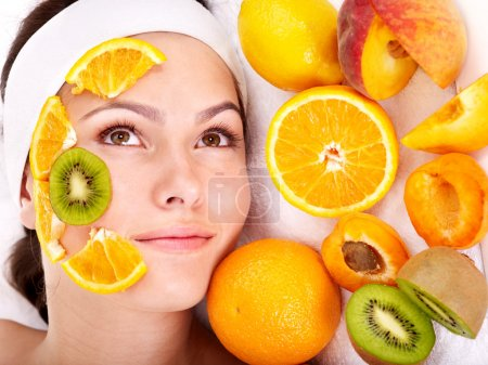 Photo for Natural homemade fruit facial masks . Isolated. - Royalty Free Image