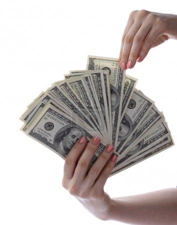 Money dollar in hand.