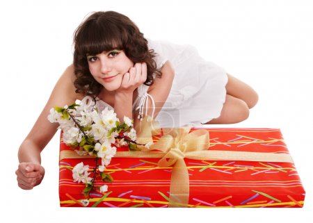 Beautiful girl with red gift box and flower.
