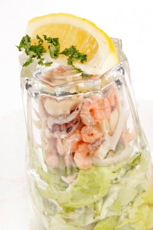 Seafood salad in the glass