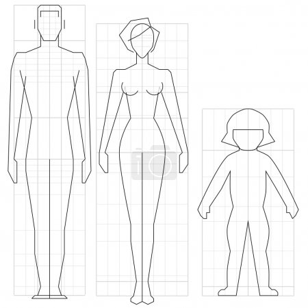 Illustration for Drawing circuit man, woman and child body, vector illustration. - Royalty Free Image