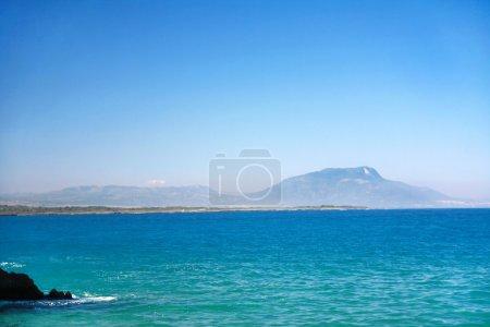Mountains on islant in Atlantic ocean