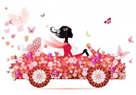 Illustration pour Fille sur une voiture de fleur rouge - image libre de droit