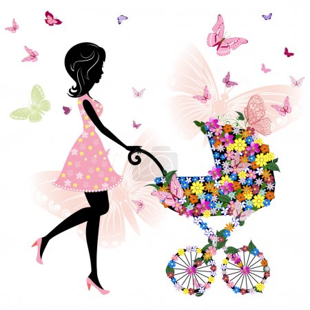 Illustration for Young mother with a stroller - Royalty Free Image