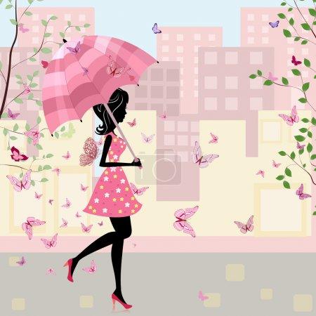 Illustration pour Belle fille avec un parapluie dans la ville - image libre de droit