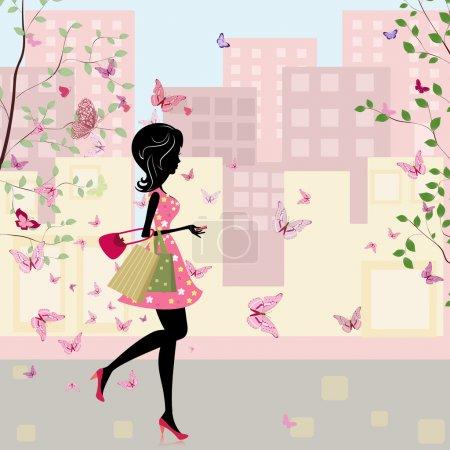 Illustration pour Fille avec des achats au printemps - image libre de droit