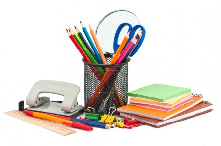 Stationery on white background.