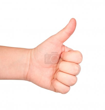 Men's hand doing thumbs up isolated on white background.