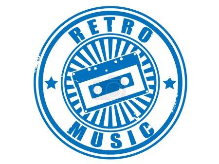 Stamp audiocassette retro music.