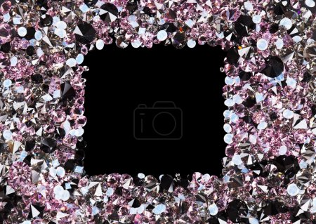 Square frame made from many small purple diamonds, with copyspac