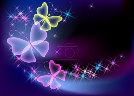 Illustration for Glowing background with transparent butterfly and stars - Royalty Free Image