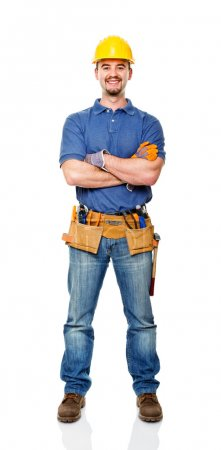 Photo for Happy handyman crossed arms isolated on white - Royalty Free Image