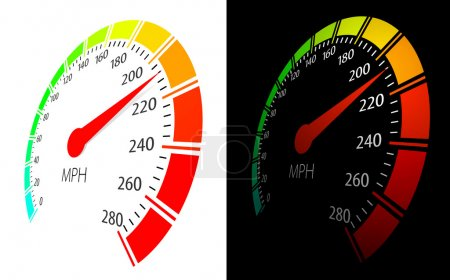 Illustration pour Compteur de vitesse vectoriel avec flèche mobile et vue à grande vitesse en perspective - image libre de droit