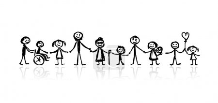 Illustration for Family together, sketch for your design - Royalty Free Image