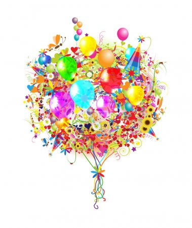 Photo for Happy birthday illustration with balloons for your design - Royalty Free Image