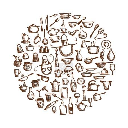 Illustration for Kitchen utensils, sketch drawing for your design - Royalty Free Image