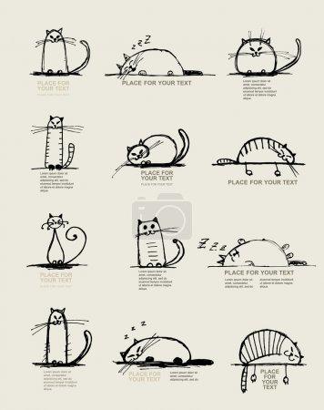 Illustration pour Croquis de chats drôles, conception avec la place pour votre texte - image libre de droit