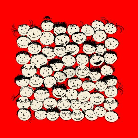 Illustration for Crowd of funny peoples, sketch for your design - Royalty Free Image