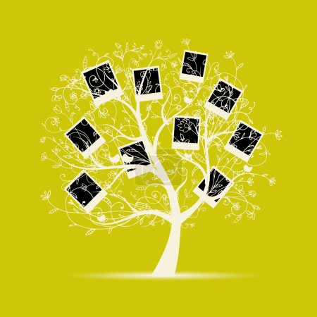 Illustration for Family tree design, insert your photos into frames - Royalty Free Image