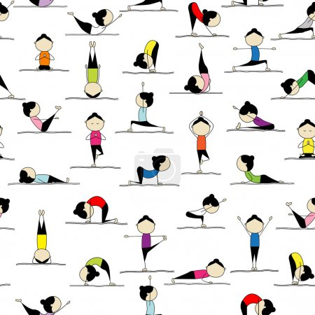Practicing yoga, seamless background for your desi...