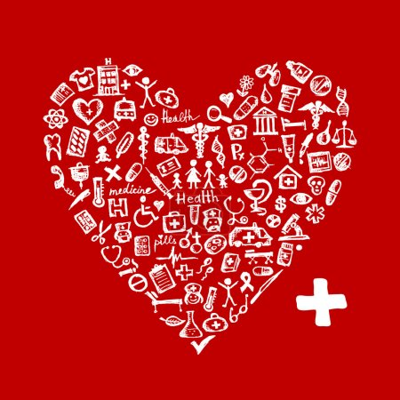 Illustration for Heart shape with medical icons for your design - Royalty Free Image