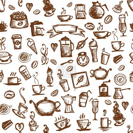 Illustration for Coffee time, seamless background for your design - Royalty Free Image