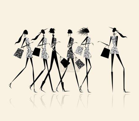 Illustration pour Filles de la mode avec des sacs à provisions, illustration pour votre conception - image libre de droit