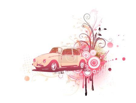 Illustration pour Illustration vectorielle de la vieille Volkswagen Beatle personnalisée sur le fond décoratif floral Grunge - image libre de droit