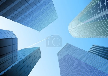 Illustration for Vector illustration of Looking up at skyscrapers in the blue city and airplane in the sky - Royalty Free Image