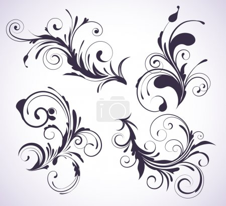Illustration for Vector illustration set of four swirling flourishes decorative floral elements - Royalty Free Image